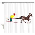 Horse Skijoring Shower Curtain