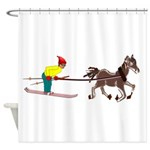 Horse Skijoring Shower Curtain