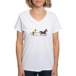 Horse Skijoring Women's V-Neck T-Shirt