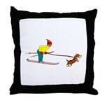 Dog Skijoring Throw Pillow