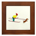 Dog Skijoring Framed Tile