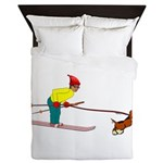 Dog Skijoring Queen Duvet