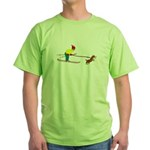 Dog Skijoring Green T-Shirt