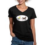 Horse Skijoring Women's V-Neck Dark T-Shirt