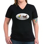 Horse Skijoring Women's V-Neck Dark T-Shirt