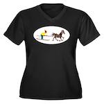 Horse Skijoring Women's Plus Size V-Neck Dark T-Sh