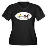 Horse Skijoring Women's Plus Size V-Neck Dark T-Sh