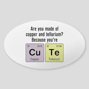 Cu Te (Cute) Chemistry Sticker (Oval)