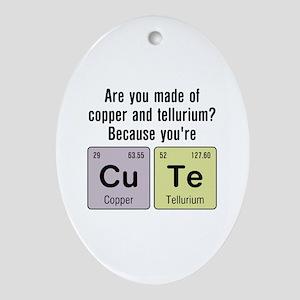 Cu Te (Cute) Chemistry Ornament (Oval)
