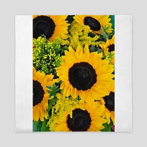 Yellow painted sunflowers Queen Duvet