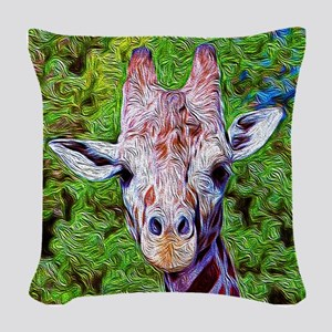 Stylized Giraffe Woven Throw Pillow