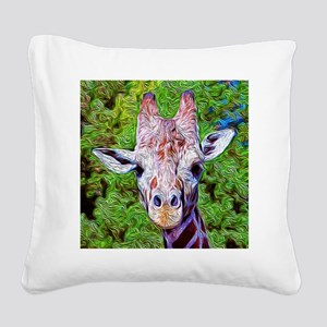 Stylized Giraffe Square Canvas Pillow