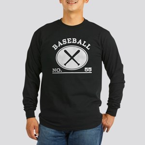 Baseball Player Custom Number 55 Long Sleeve Dark