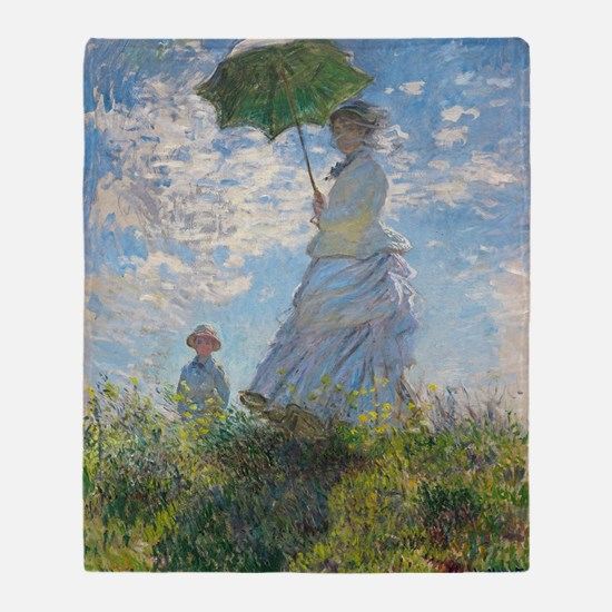 Claude Monet - Woman with a Parasol Throw Blanket