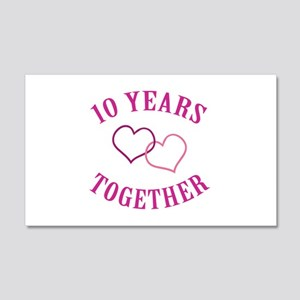 10th Anniversary Two Hearts 20x12 Wall Decal
