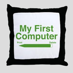 My First Computer Throw Pillow