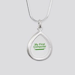 My First Computer Silver Teardrop Necklace
