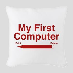 My First Computer Woven Throw Pillow