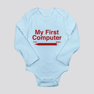 My First Computer Long Sleeve Infant Bodysuit