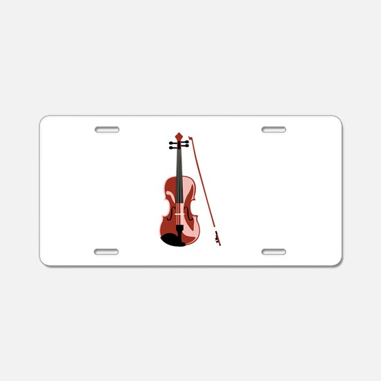 Violin and Bow Aluminum License Plate