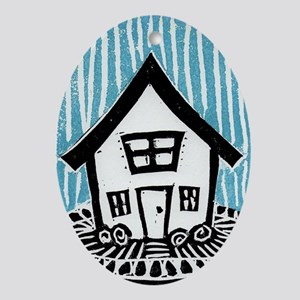Happy House Oval Ornament