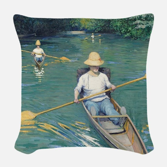 Gustave Caillebotte - Skiffs Woven Throw Pillow