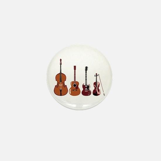Bass Guitars and Violin Mini Button