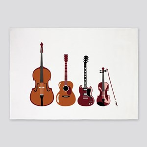 Bass Guitars and Violin 5'x7'Area Rug