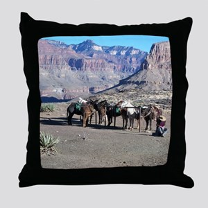 South Kiabab Mule Ride To Phantom Ran Throw Pillow