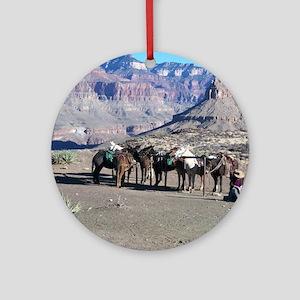 South Kiabab Mule Ride To Phantom R Round Ornament