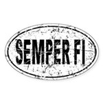 Distressed Semper Fi Auto Sticker (Oval)