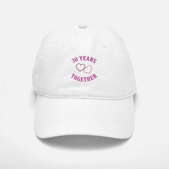 30th Anniversary Two Hearts Baseball Baseball Cap