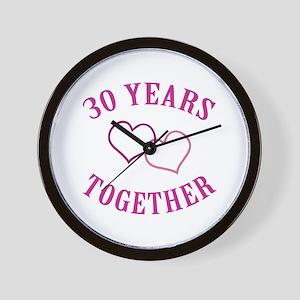 30th Anniversary Two Hearts Wall Clock
