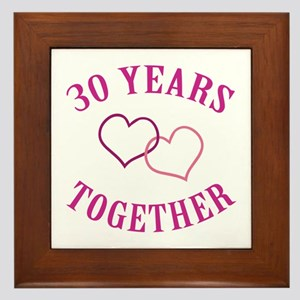 30th Anniversary Two Hearts Framed Tile