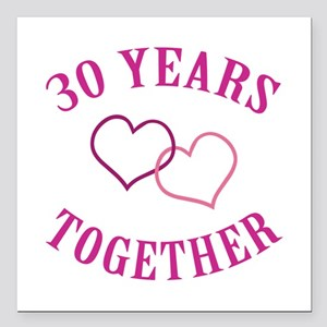 """30th Anniversary Two Hearts Square Car Magnet 3"""" x"""