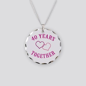 40th Anniversary Two Hearts Necklace Circle Charm