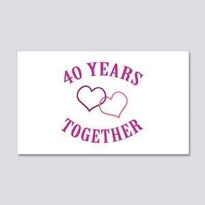 40th Anniversary Two Hearts 20x12 Wall Decal