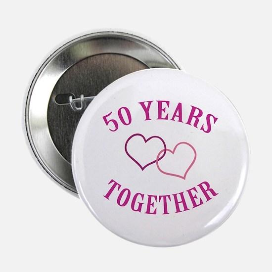 "50th Anniversary Two Hearts 2.25"" Button"