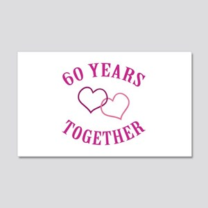 60th Anniversary Two Hearts 20x12 Wall Decal
