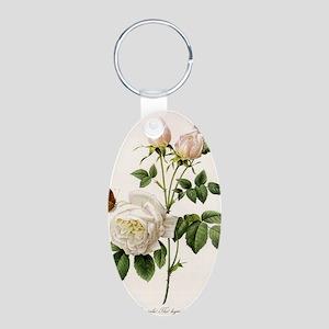 vintage botanical art. whit Aluminum Oval Keychain