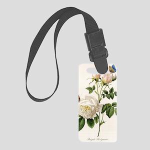 vintage botanical art. white ros Small Luggage Tag