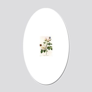 vintage botanical art. white 20x12 Oval Wall Decal