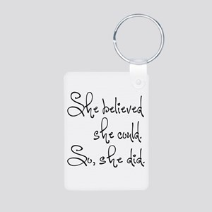 She Believed She Could Aluminum Photo Keychain