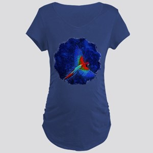 Blue Winged Macaw Maternity Dark T-Shirt