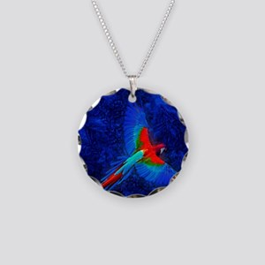 Blue Winged Macaw Necklace Circle Charm