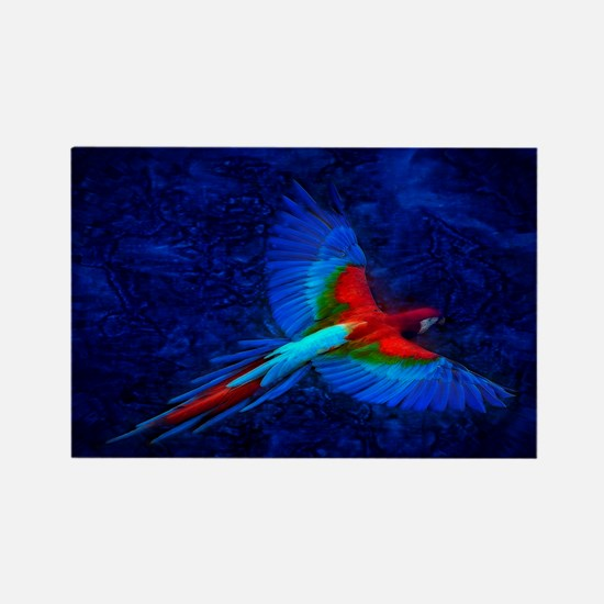 Blue Winged Macaw Rectangle Magnet