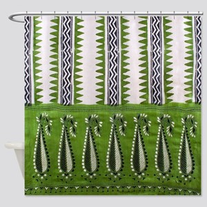 Asian Textile Print Shower Curtain