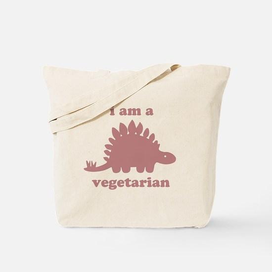 Vegetarian Stegosaurus Dinosaur - Pink Tote Bag