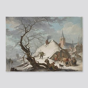 Hendrik Meyer - A Winter Scene 5'x7'Area Rug