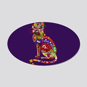 Patchwork Cat 20x12 Oval Wall Decal